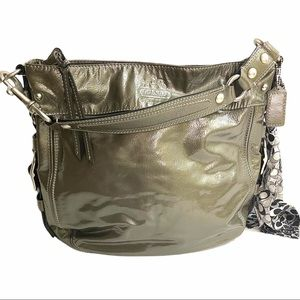 Coach Grey Patent Leather Zoe Handbag